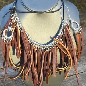 Fringe Genuine Leather Necklace Drop Earrings Set